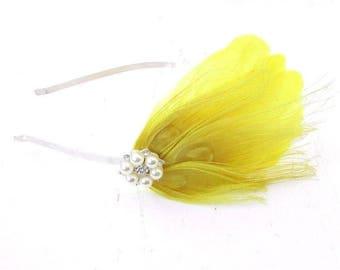 Yellow Silver Diamante Feather Fascinator Headband 1920s Races Great Gatsby 3925