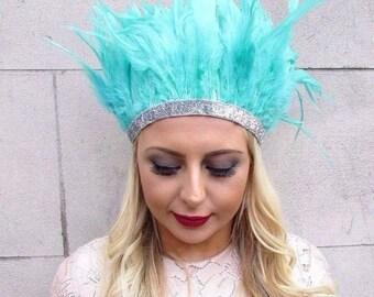 Turquoise Silver Feather Headdress Headband 20s Showgirl Festival Carnival 4360