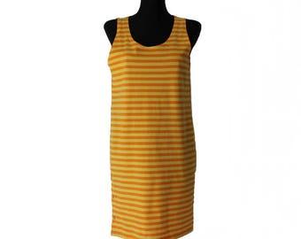 MARIMEKKO Women's Dress Yellow Orange Striped Sleeveless Dress Cotton Tunic Size L