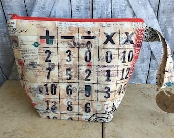 Knitting Project Bag - Tim Holtz Ephemera,Small knitting bag,Tim Holtz knitting bag,Sock Bag,crochet project ,knitting bag,Wedge Bag