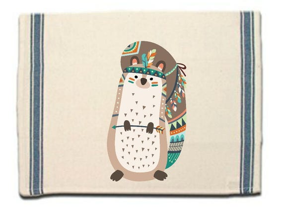 Tribal Squirrel Kitchen Towel, Dish Towel, Tea Towel, Flour Sack Material,Woodland Animals Dish Towels,Flour Sack Kitchen Towel, Dish Cloth