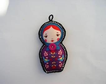 Keychain, bag charm matryoshka button purple fabric
