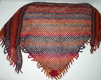scarf / crochet wool degraded, orange, rust