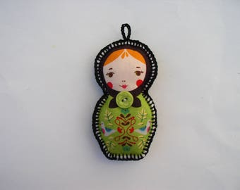 Keychain, bag charm green matryoshka fabric