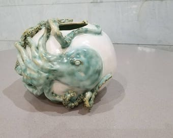 Gorgeous hand made ceramic octopus round vase - white green aqua