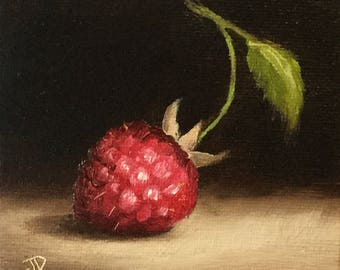 Little Raspberry, Original Oil Painting still life by Jane Palmer