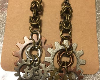 Steampunk inspired chainmaille earrings
