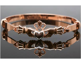 Friendship, Love Claddagh Heart Rose Gold Bangle Bracelet, Rose Gold-Tone Bangle Bracelet, Thank You Gift, Birthday Gift