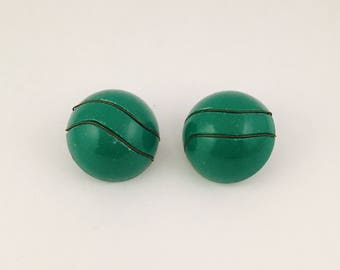 Green and Black Clip On Earrings