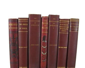 SALE SALE SALE Maroon Red  Antique Books, Farmhouse Decor, Antique Book Decor , Decorative Books , Wedding Prop , Photo Prop , Vintage Books