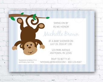 Silly Monkey Invitation, Baby Shower Invitation, Personalized, Pink or Blue Printable Invitation, Boy or Girl