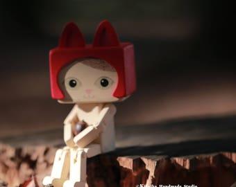 handmade kitty wooden doll, Art Doll ,Handmade wooden Art doll,Handcrafted wood doll---for 1 cat