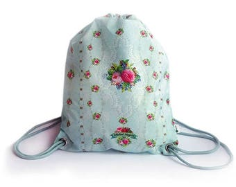 Drawstring Backpack, Bag, Michal Negrin, Shopping bag ,flower print, string backpack, pale blue bag, gym bag