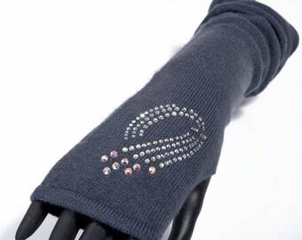 Cashmere MITTENS and Rhinestones, dark grey fingerless mittens gloves Swarovski crystals, accessories, Princess luxury heirloom Concept Paris