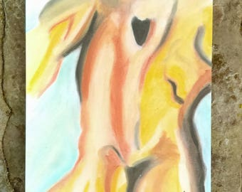 """Human figure study in soft pastel. 11"""" by 14"""" """"Male Back"""""""