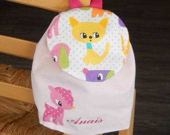 "Backpack ""pets"" girl personalized name"