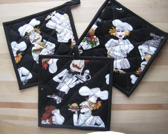 Hot pad, oven mitt, kitchen accessory, Insulated, Loralie Designs® What's Cookin? Chef, housewarming gift, quilted