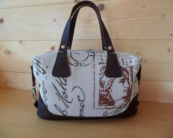 HandmadeReal Leather and fabric Handbag