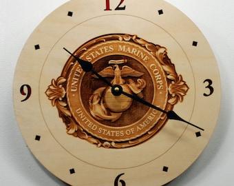 USMC 3D engraved Clock