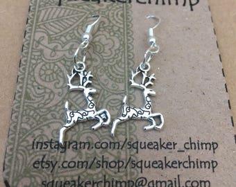 Reindeer Earrings, Reindeer Jewelery, Silver Christmas Earrings, Festive Earrings, Rudolf Jewelery, Reindeer Charm, Rudolf Earrings,