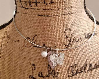 Silver Choker Necklace, Butterfly Charm, Leaf Charm, Pearl Charm, One Size Clasp Choker, Rhinestone Butterfly, MarjorieMae