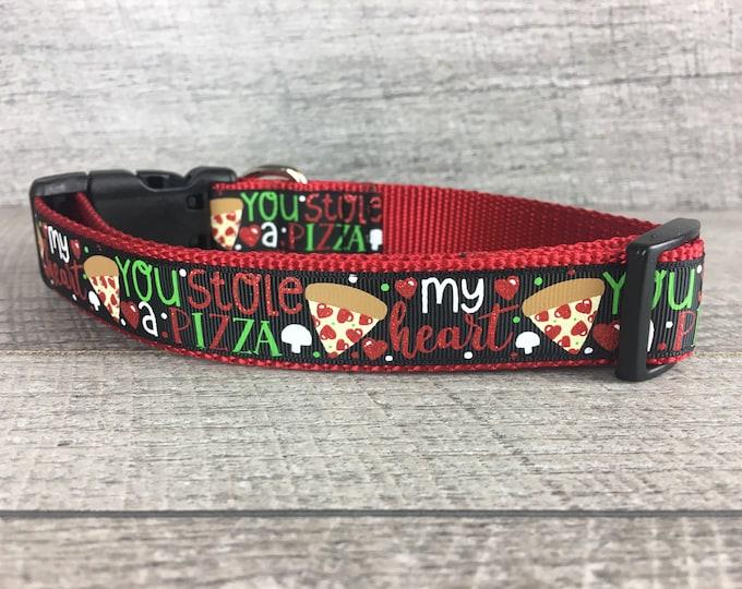 "You Stole A Pizza My Heart | Designer 1"" Width Dog Collar | CupcakePups Collars | Medium/Large Dog Collar"