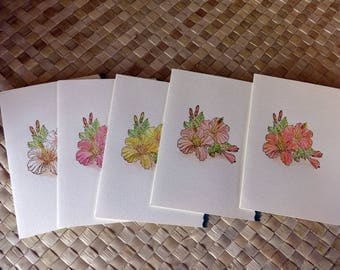 Set of blank hibiscus cards (5 cards) with deckled edge
