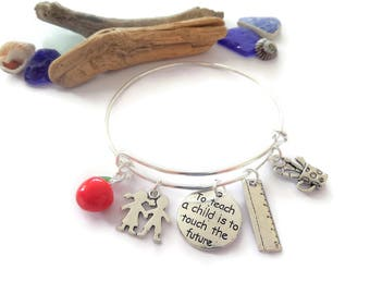 Teacher bangle, thank you teacher, teacher gift, to teach a child, teacher bracelet,  end of year gift, classroom assistant, sandykissesuk