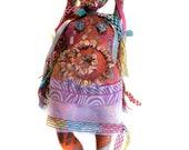 Reserved FOR PAULA The Muse of Dance OOAK Beaded Full Figure Folk Art Doll named Terpsichore of the Nine Muses