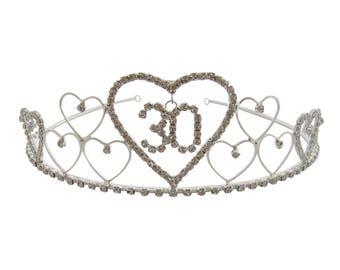 30th Birthday Tiara Diamante Crystal 30th Crown 30th Birthday Gift Idea