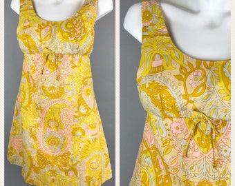 Vintage 70s Hawaiian Mini Dress Yellow Floral Empire Waist Fritzis California Poly