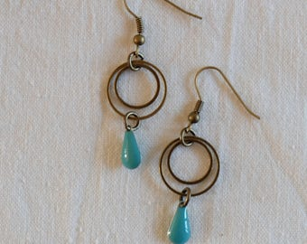 Pretty drop Earrings and two rings - mint