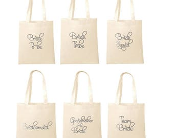 Printed in SILVER Wedding Party Bridal Tote Bags Bridesmaid Favour Hen Party Bag