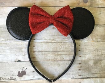 Red Minnie Ears - Red Bow Minnie Ears - Disney Ears Headband - Kids Minnie Ears - Baby Disney Ears - Minnie Mouse Ears Baby