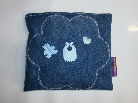Original coussin Petit Bouillotte Sèche !! BLUE FLOWER !! EN Coton bleu 15cm x 16cm belicious-delicious-creation
