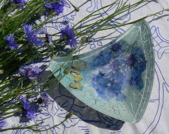 Glass bowl Decoupaged in a floral style with butterflies, summer serving bowls, romantic gift Ready to Ship