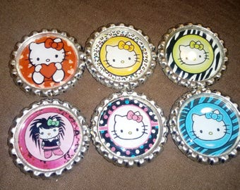 Hello Kitty Bottle Cap Magnets - 6pc Set