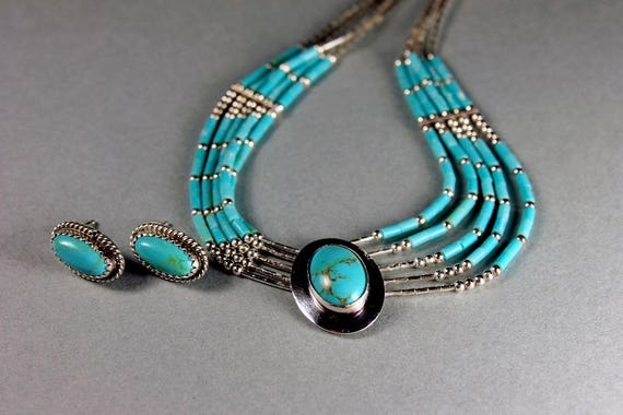 Turquoise Necklace and Earring Set, Sterling Silver, Turquoise Stones, Native American Design, Liquid Silver Chain