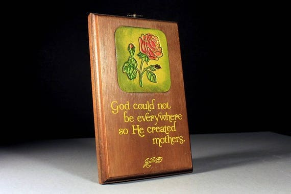 Wooden Wall Plaque, Wallace Berrie, Leather Insert, Rose Design, Mother Sentiment, 1978, Mother's Day