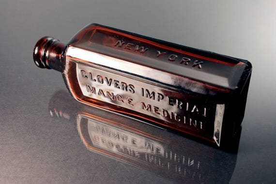 Amber Bottle, Glovers Imperial Mange Medicine, H. Clay Glover Co., Veterinary, Hair Care Bottle, Circa 1920s, Embossed, Collectible