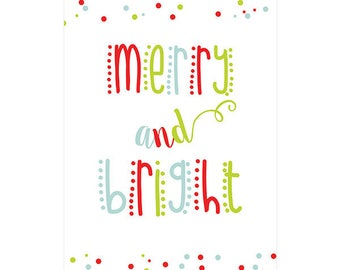 Merry and Bright Christmas Poster - Downloadable Print