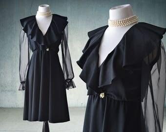 1970s Black Cocktail Dress Sheer Sleeves Bobby's Girl