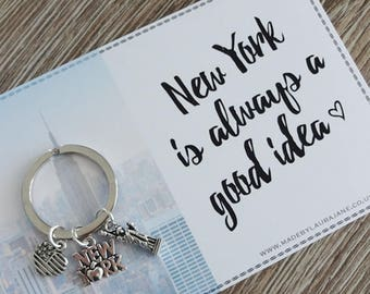 Love New York quote keyring gift - Anniversary, Wife, Husband, Girlfriend, Boyfriend