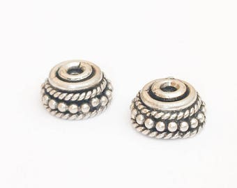 2 Bali Sterling Silver Bead Caps, 9x4mm