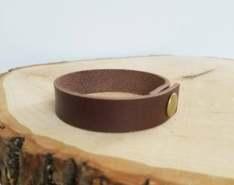 Leather cuff bracelet, simple cuff, snap leather bracelet, dark brown