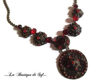 Bronze necklace and Red rhinestones