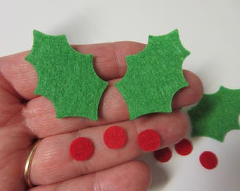 50 Piece Set-THICK-STIFF FELT Holly and Berries Die Cuts-Christmas Die Cuts