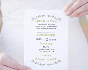 Wedding invitation template etsy wedding invitation template twigs and leaves any colours instant download nicki edit stopboris Gallery