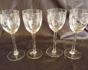 Set of Four Cut Crystal Cordial Glasses Cross Hatch and Fan Design