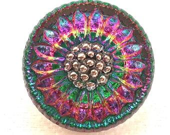 One 18mm Czech glass button, iridescent blue, green, pink & yellow rainbow sunflower , floral decorative shank button 03201
